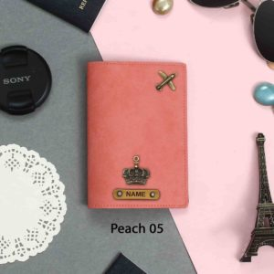 personalized passport cover peach