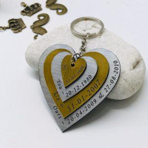 Four layer heart shape keychain