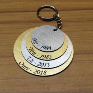 four layer circular keychain