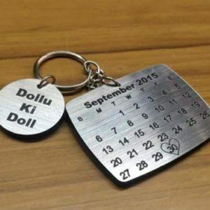 Calendar keychain with name