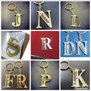 Initial keychains with full name