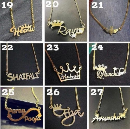 golden and rose gold name pendant india