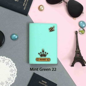 personalized passport cover mint green