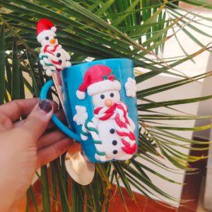 Customized Christmas Santa Mugs With Spoon