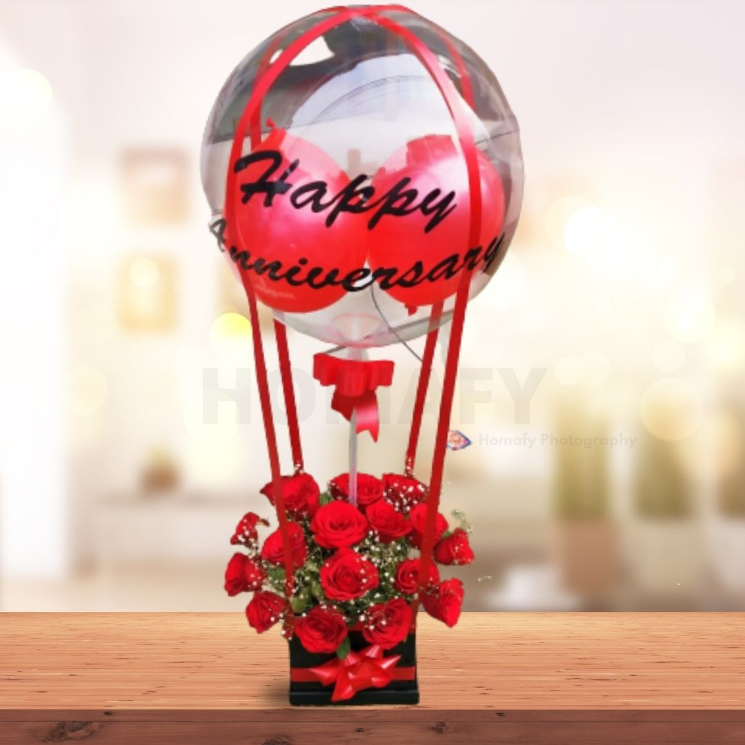 Rose bouquet with Balloons