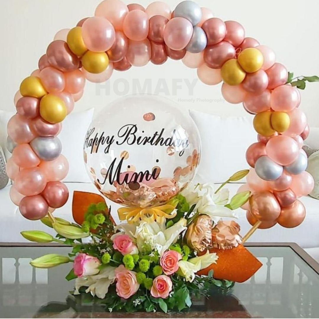 Rose bucket with Balloons (2)