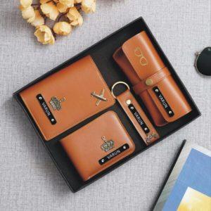 Tan personalized wallet passport eye wear amd keychain combo