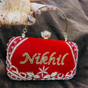 bridal clutch with name