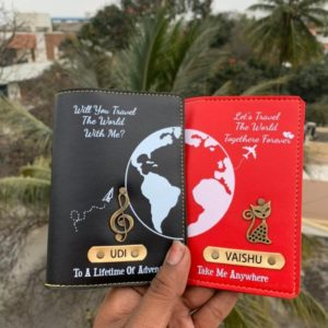 Couple printed passport cover